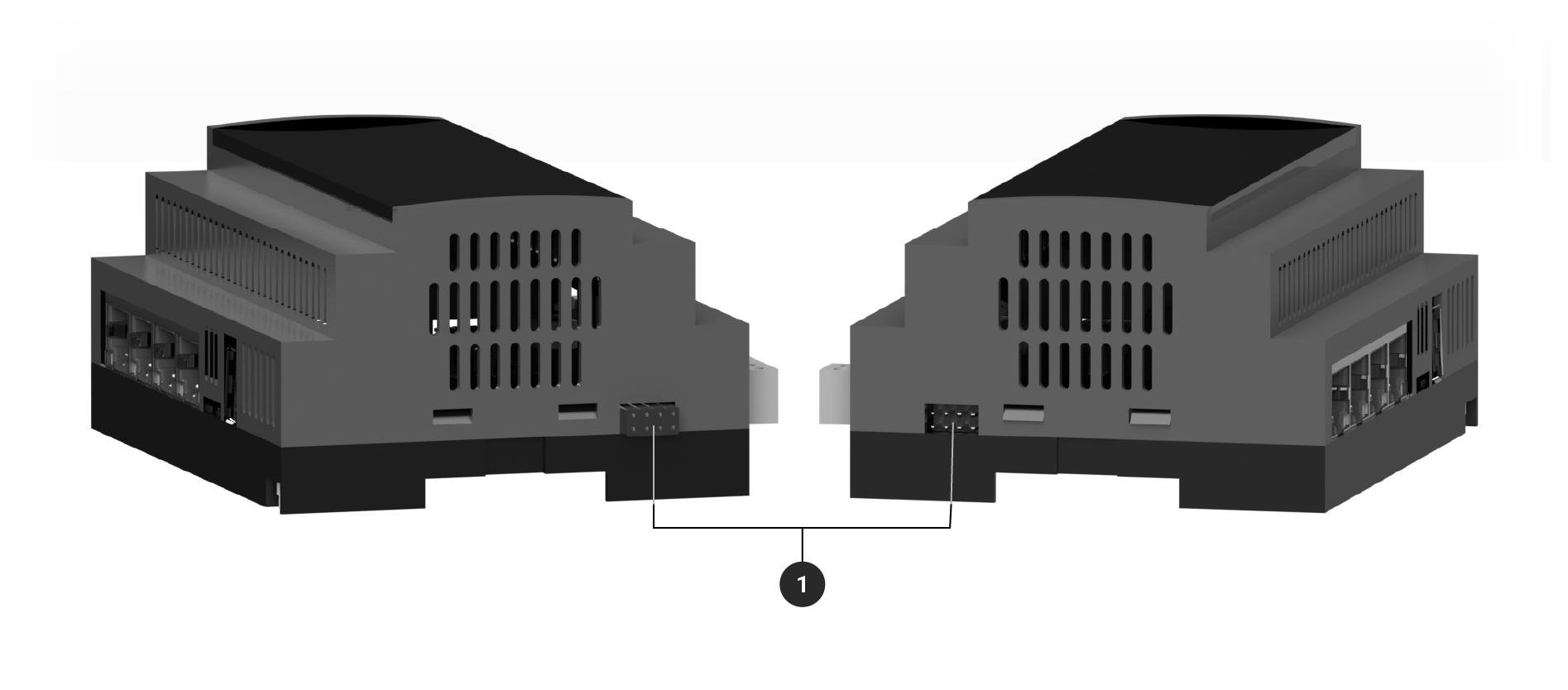 Adquio lite mostrando conectores de expansión laterales