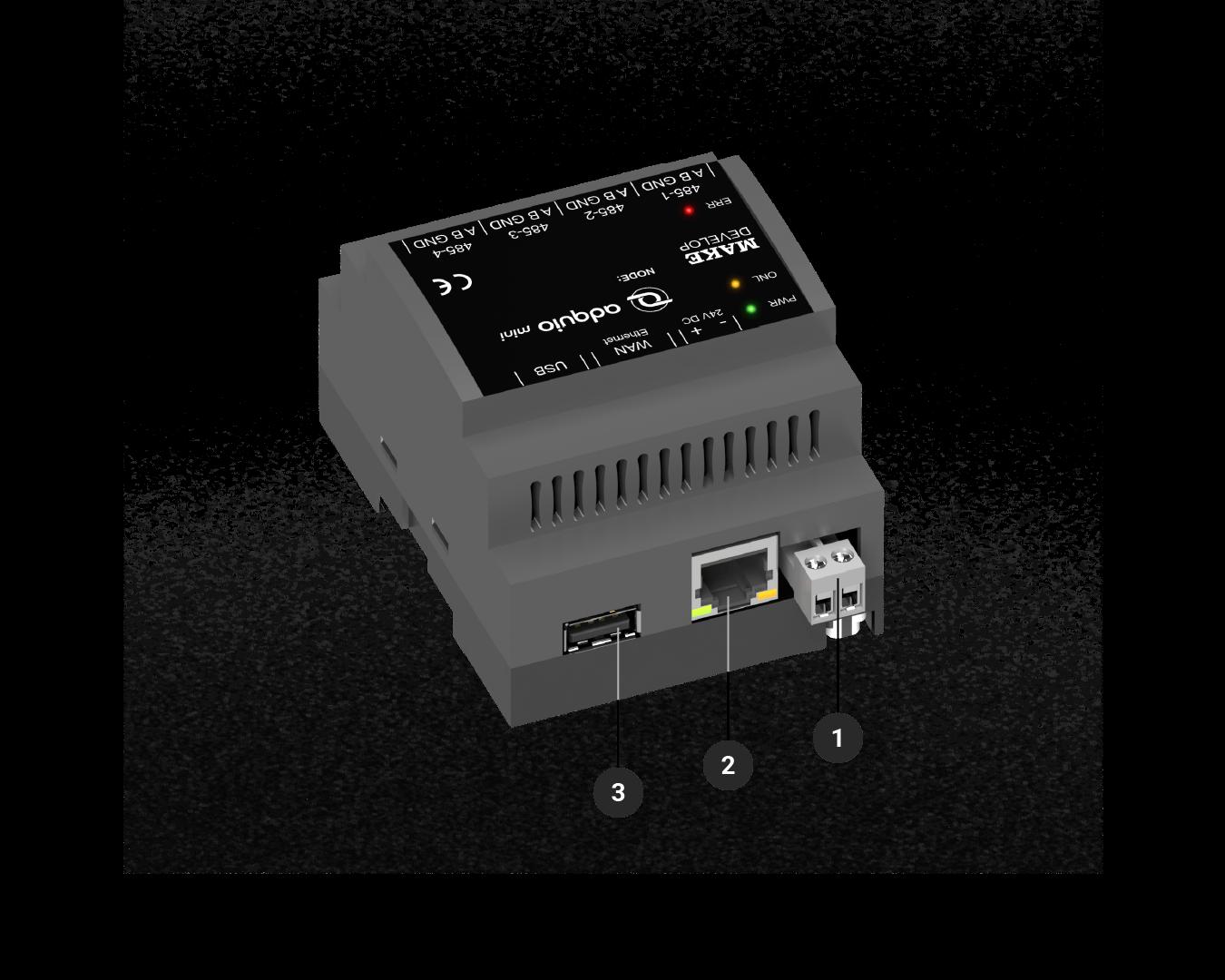 Controlador adquio mini con leyendas de conectores frontales