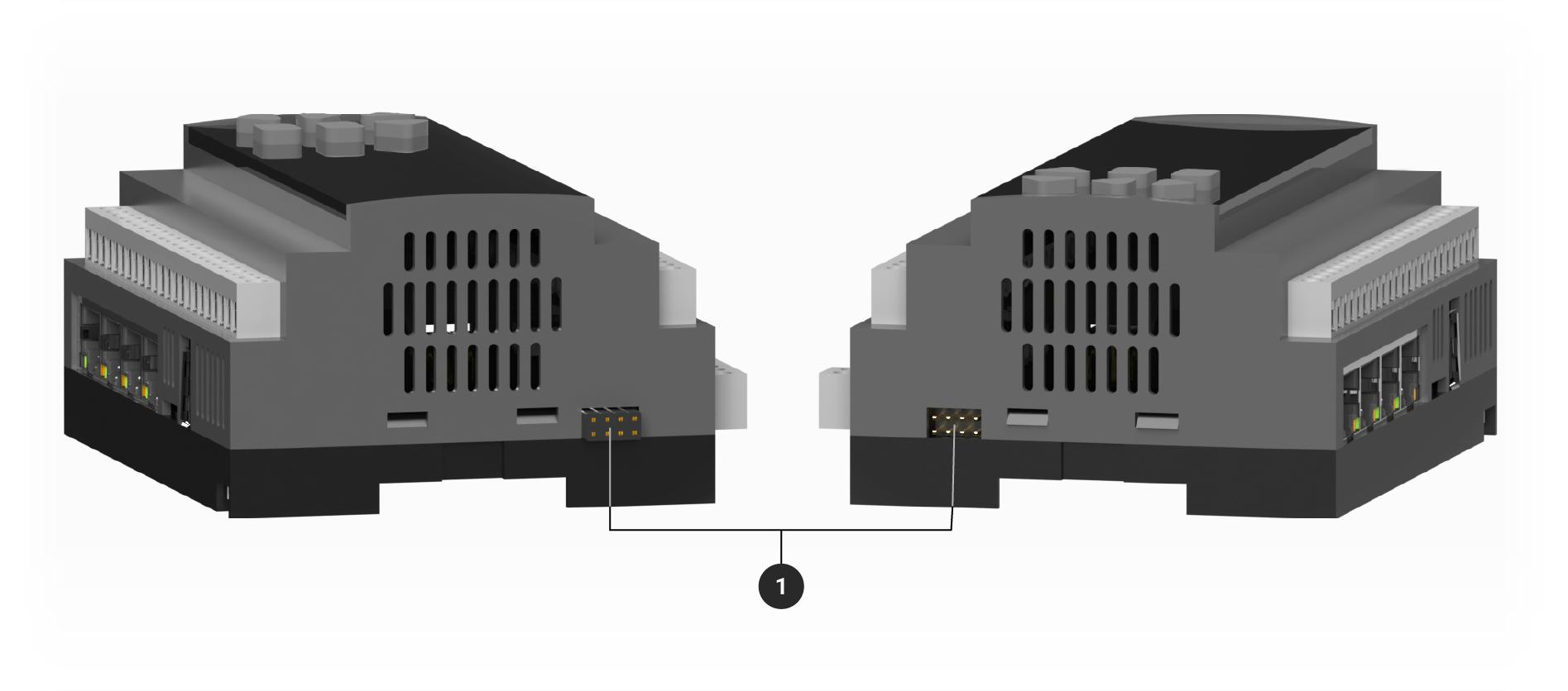 Controlador adquio pro mostrando conectores de expansión laterales
