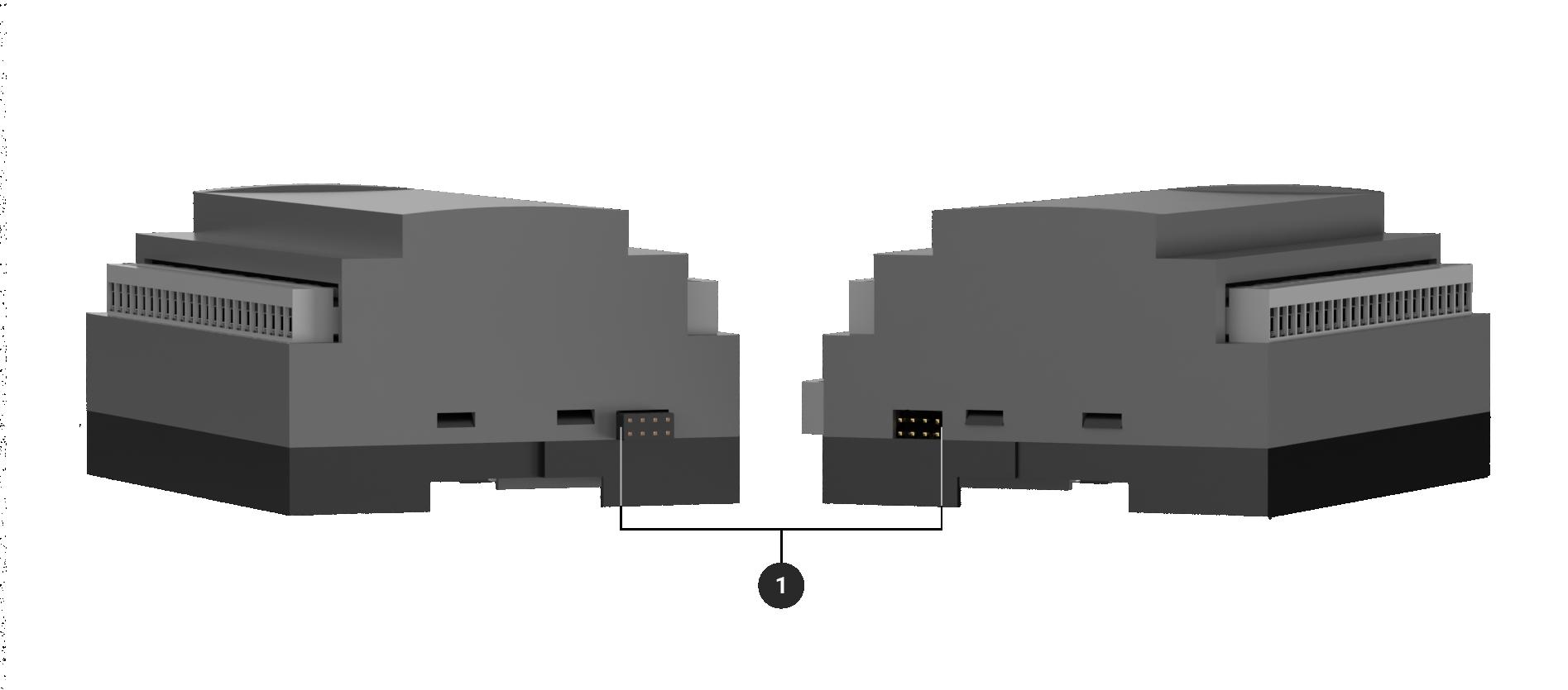 Conectores latarales del módulo de expansión de entradas y salidas para adquio pro y lite