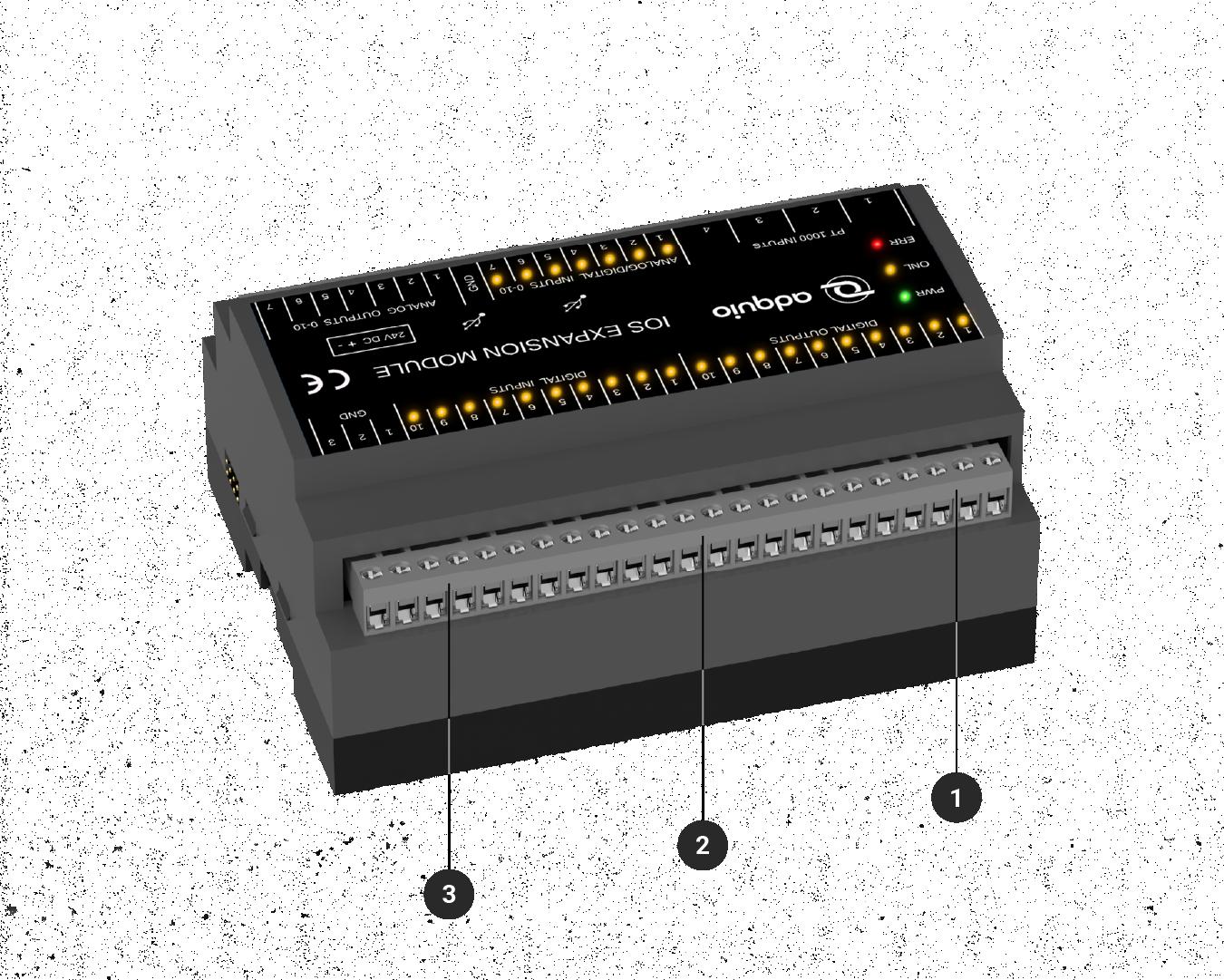 Vista de los conectores traseros del módulo de ampliación de entradas y salidas para adquio pro y lite