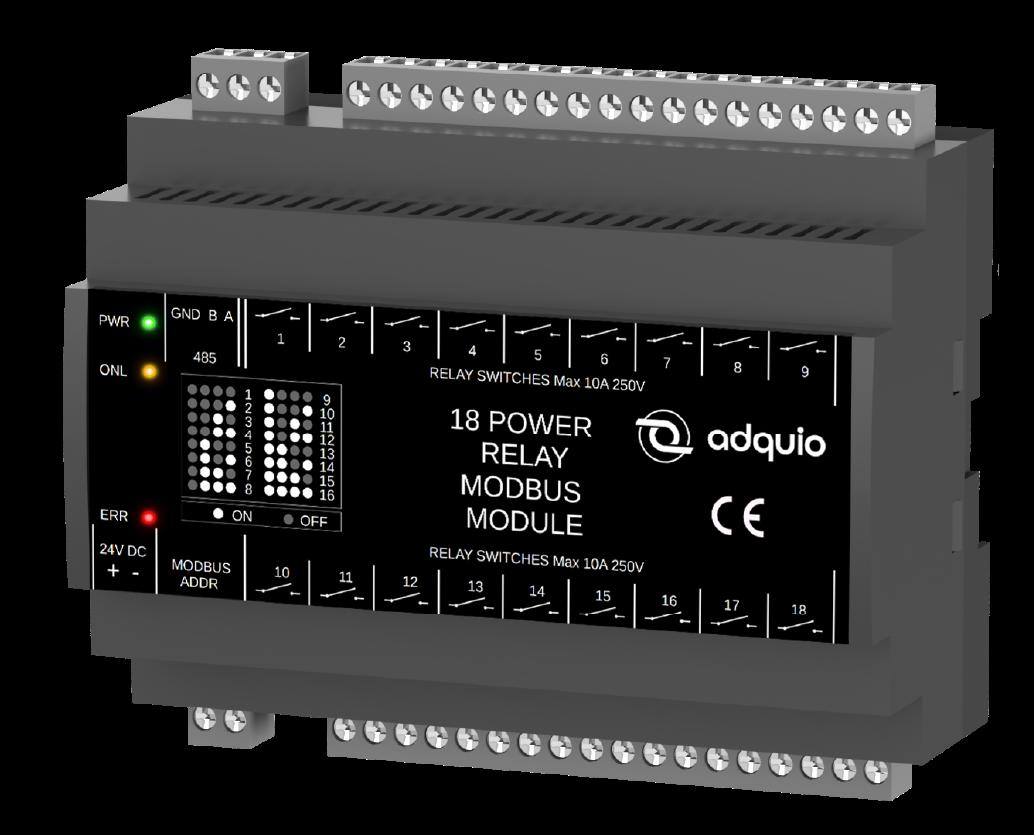 Modulo de 18 relés controlables por modbus RTU