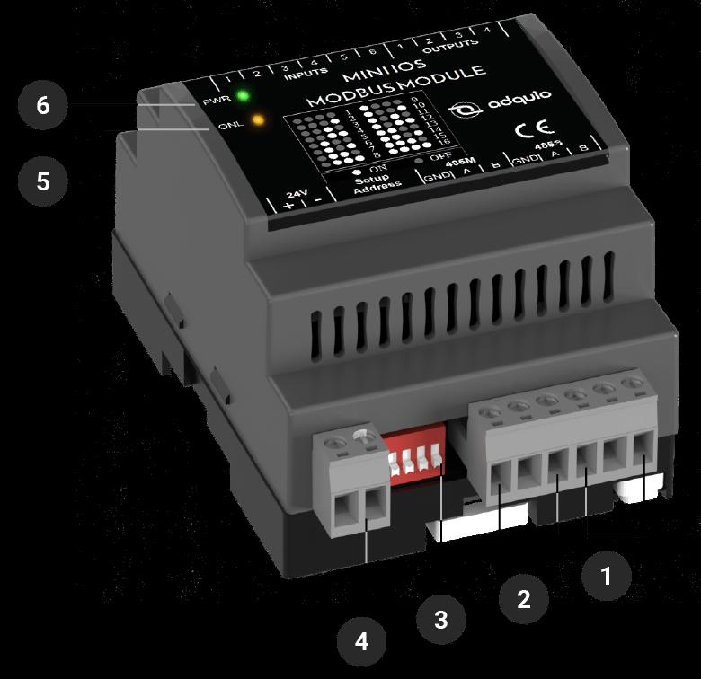 explicación de conectores frontales del adquio mini IOs modbus module