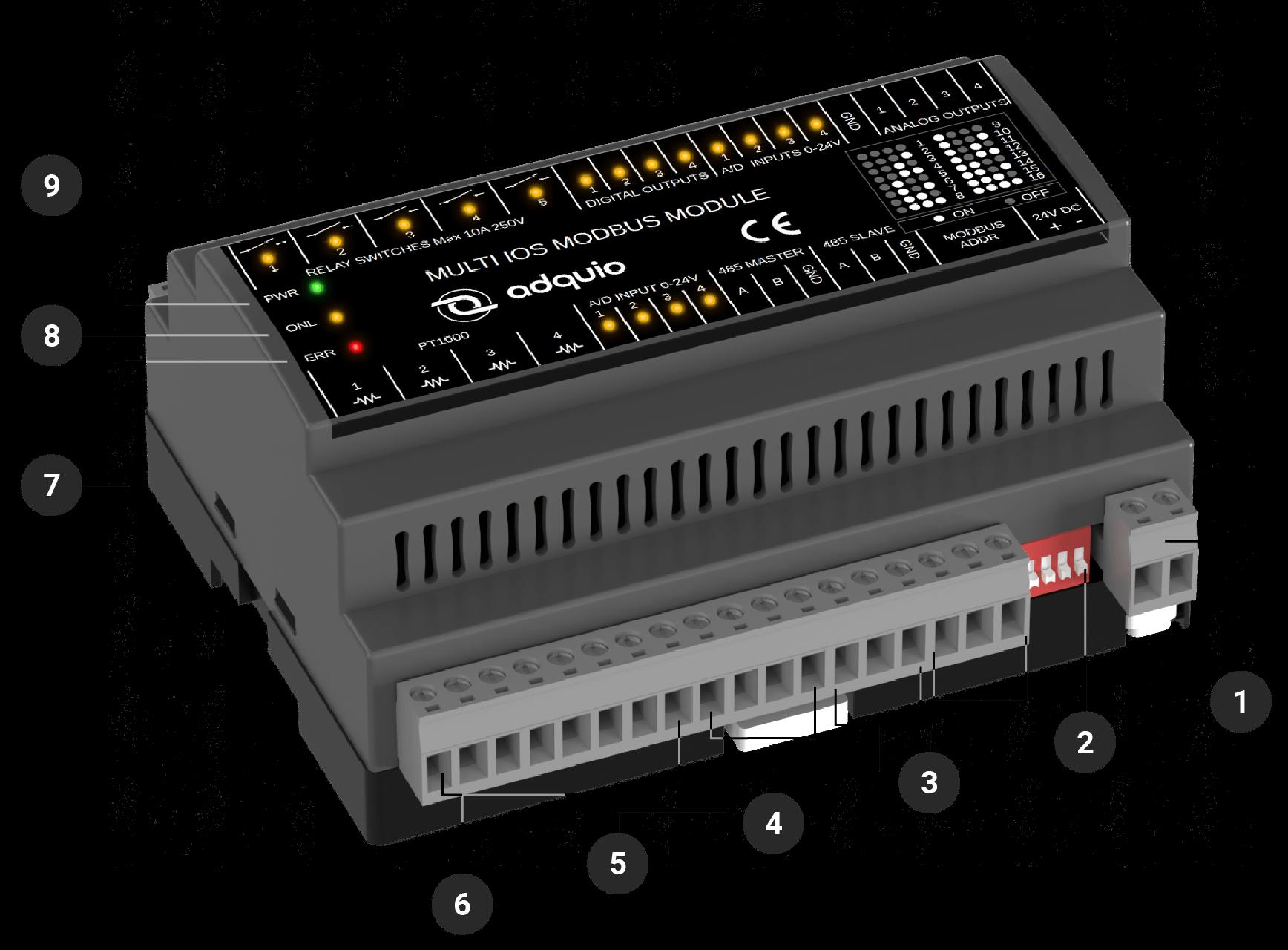 Conectores delanteros adquio multi IOs modbus module