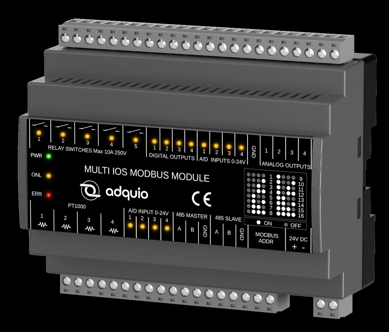 Vista frontal de adquio multi IOs modbus module