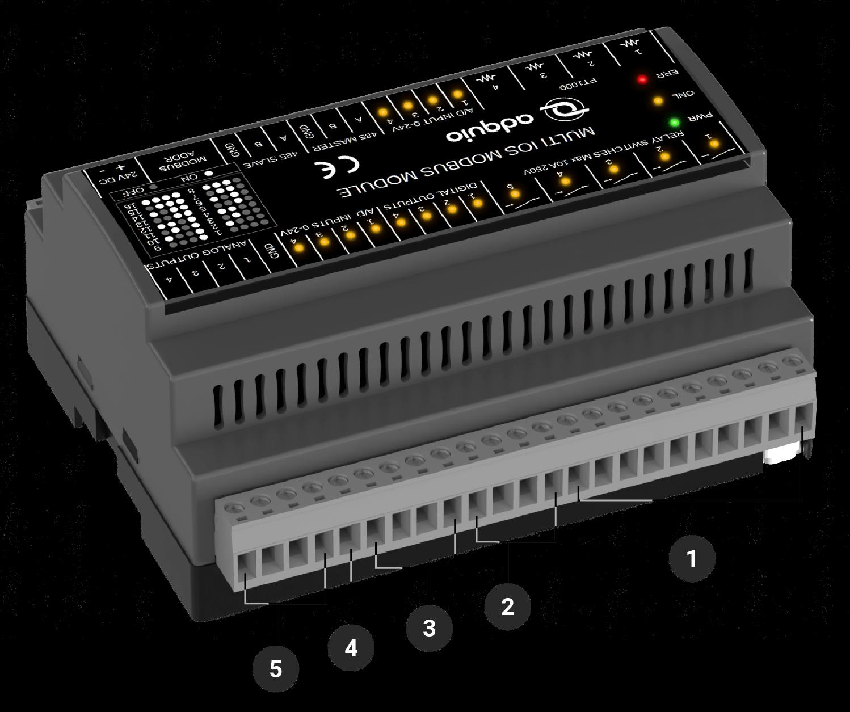 Conectores traseros adquio multi IOs modbus module